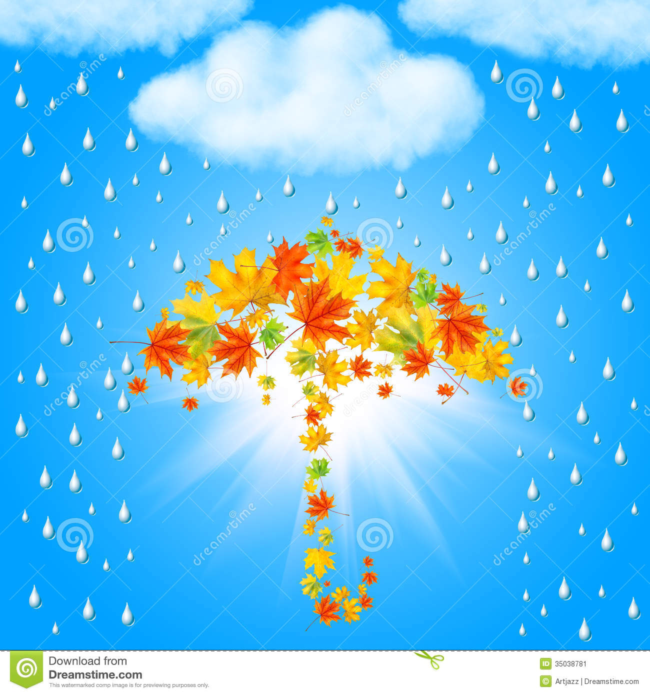 Tree With Leaves Falling Wallpaper Umbrella From Autumn Leaves Under Cloud And Rain Stock