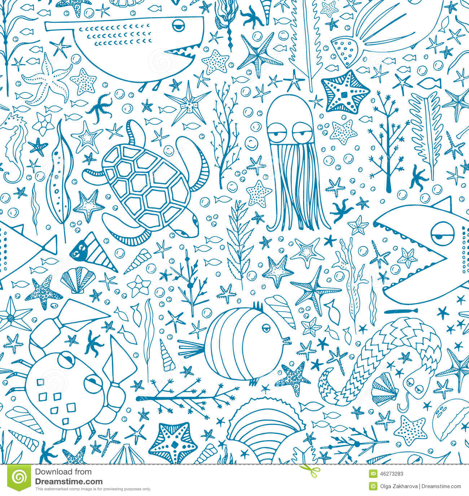 Cute Algae Wallpaper Underwater Pattern Stock Illustration Image 46273283