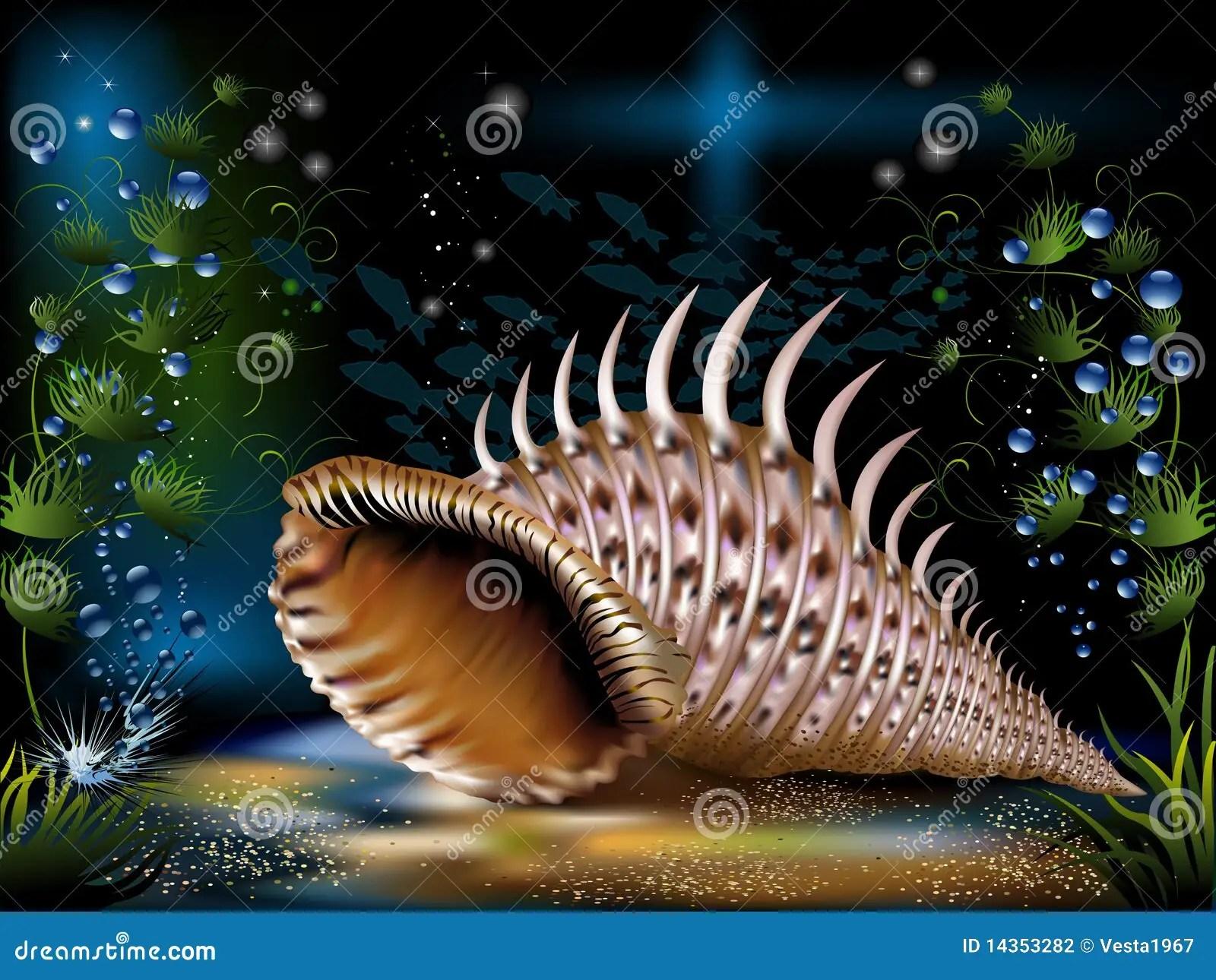 Green Animal Print Wallpaper Underwater World Stock Vector Image Of Illustration
