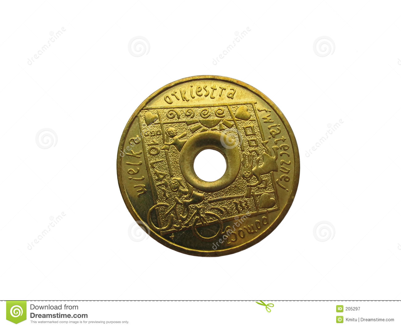 Unique Coin Unique Coin With Hole Inside Isolated Stock Image