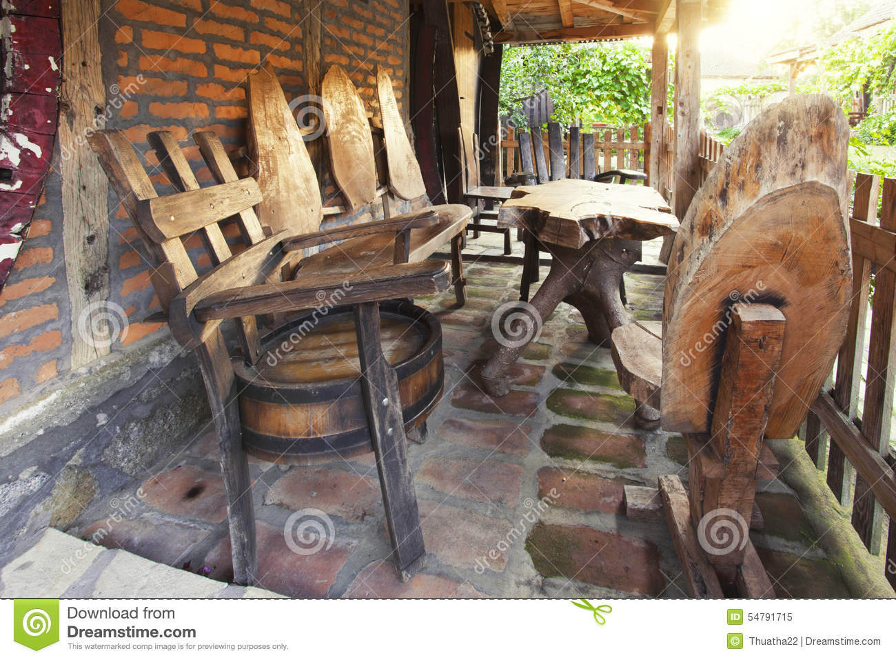 Unusual Wooden Chairs Unique Wooden Chairs And Table On Porch Stock Image