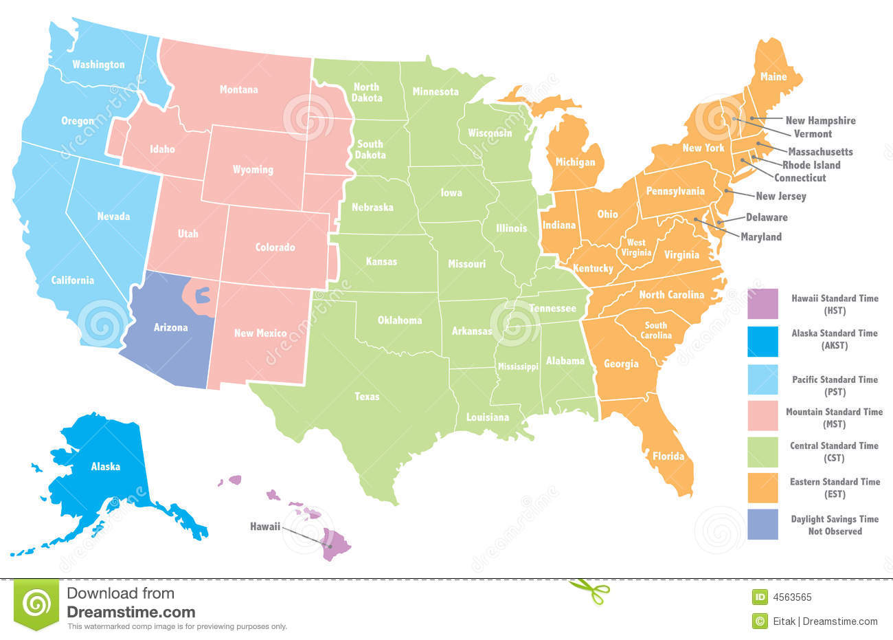 USA Time Zone Map With States With Cities With Clock With USA - Us map blank color