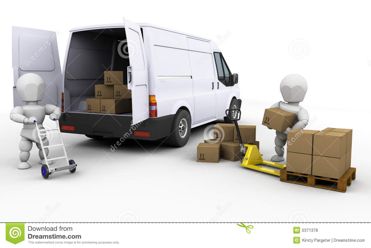 Lagerregal Clipart Unloading A Van Stock Illustration Illustration Of Stack