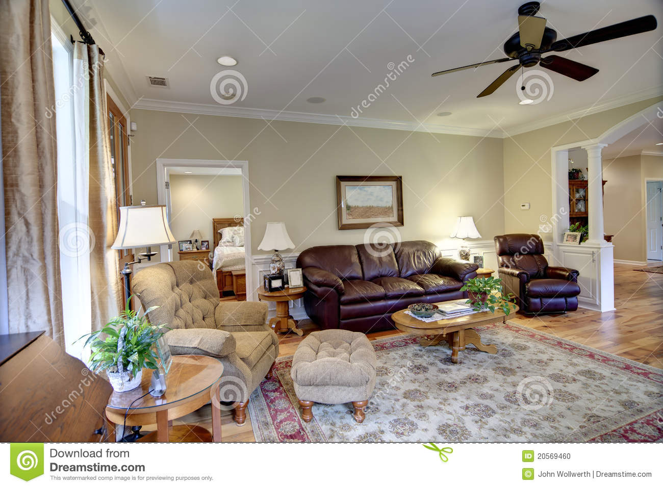 Upscale Ceiling Fan Upscale Living Room Stock Photo Image Of Estate Beige 20569460