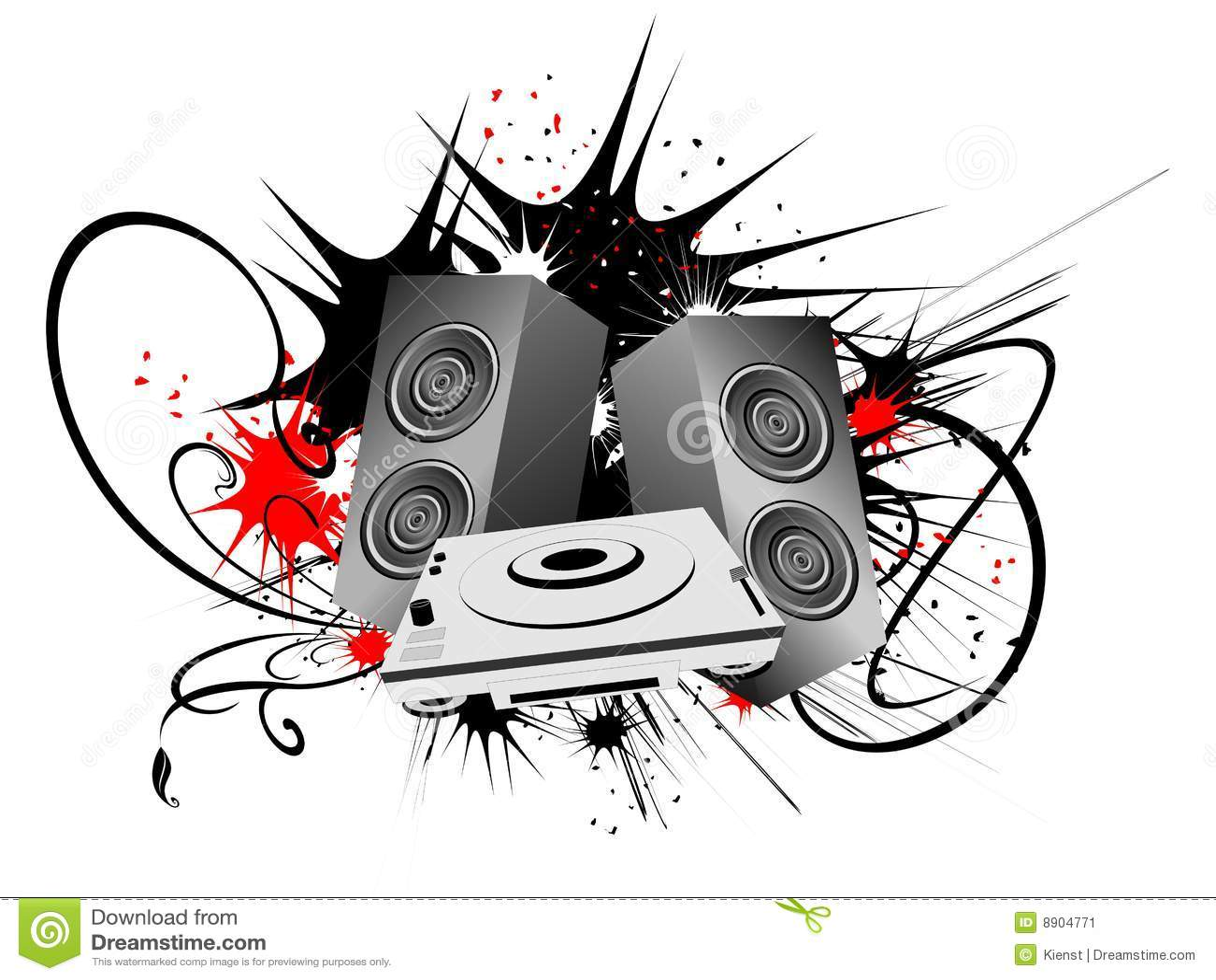 3d Vinyl Records Wallpaper Urban Art With Speaker Stock Vector Image Of Abstract