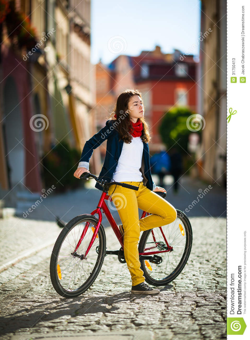 1920x1080 Fall Urban Wallpaper Urban Biking Teenage Girl And Bike In City Stock Image
