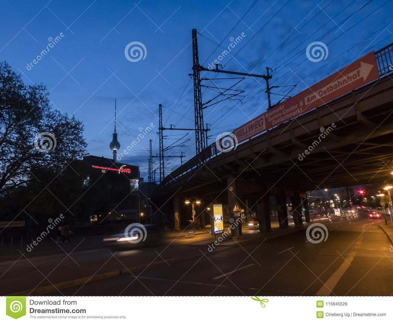 Baumarkt Berlin Tempelhof Urban Scene Of Berlin City At Dusk Editorial Photo Image Of