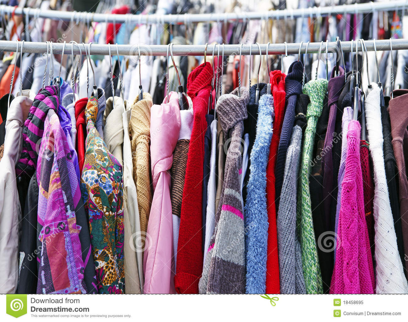 Used Clothes On Rack Stock Image Image Of Clothes Used