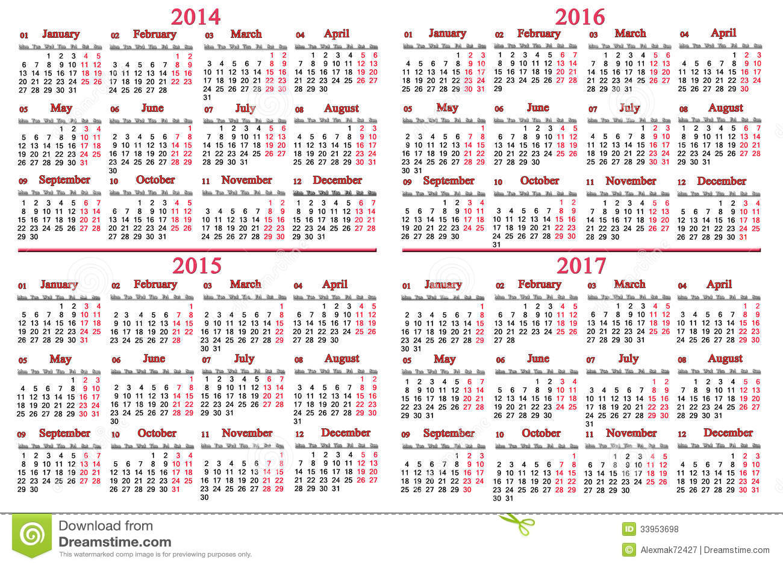 Jewish Perpetual Calendar The Jewish Calendar Calendars Webexhibits Usual Calendar For 2014 2017 Years Royalty Free Stock
