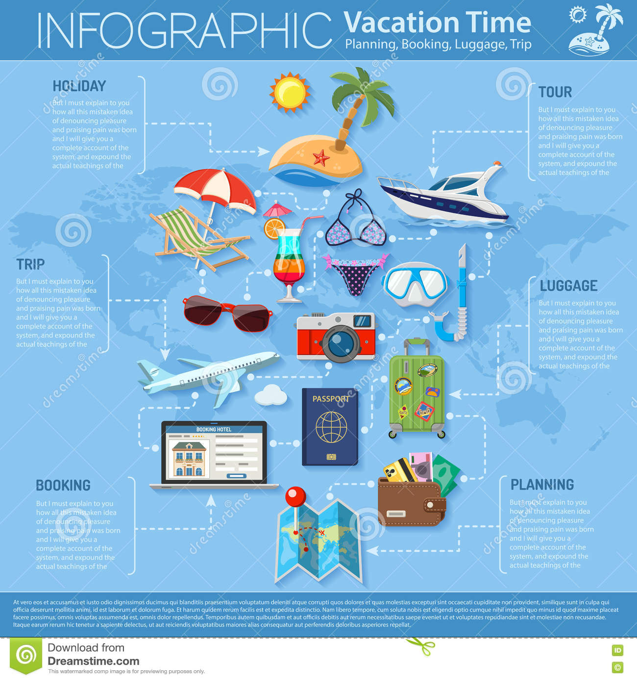 Booking Site Vacation And Tourism Infographics Stock Vector Illustration Of