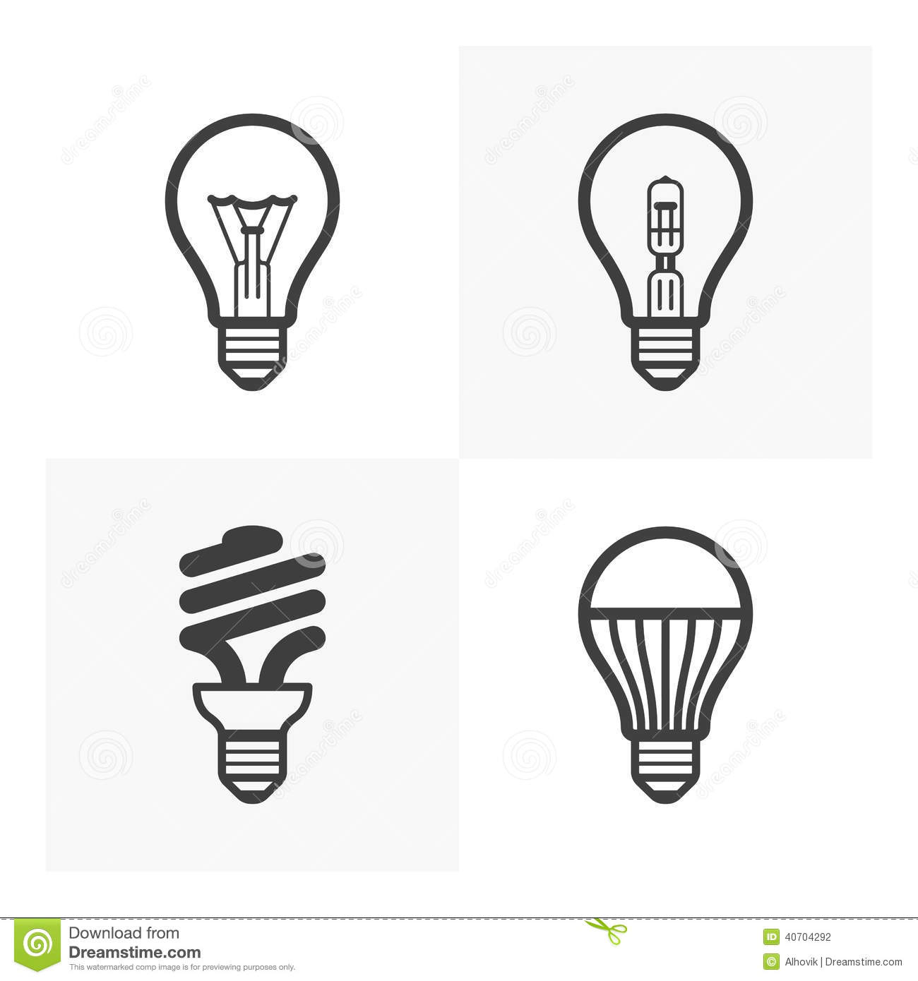 Incandescent Lamp Symbol Various Light Bulb Icons Stock Vector Image 40704292