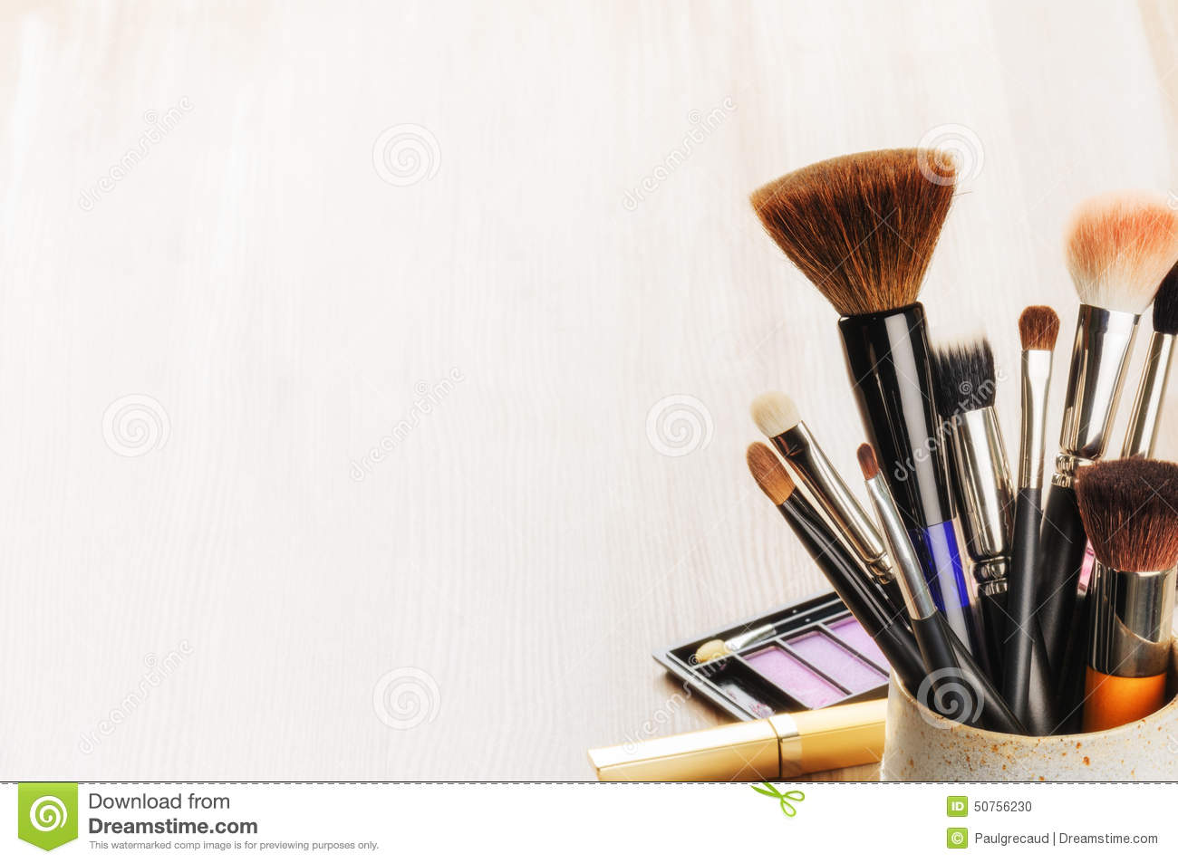 Chanel Wallpaper For Iphone 5 Various Makeup Brushes On Light Background Stock Photo