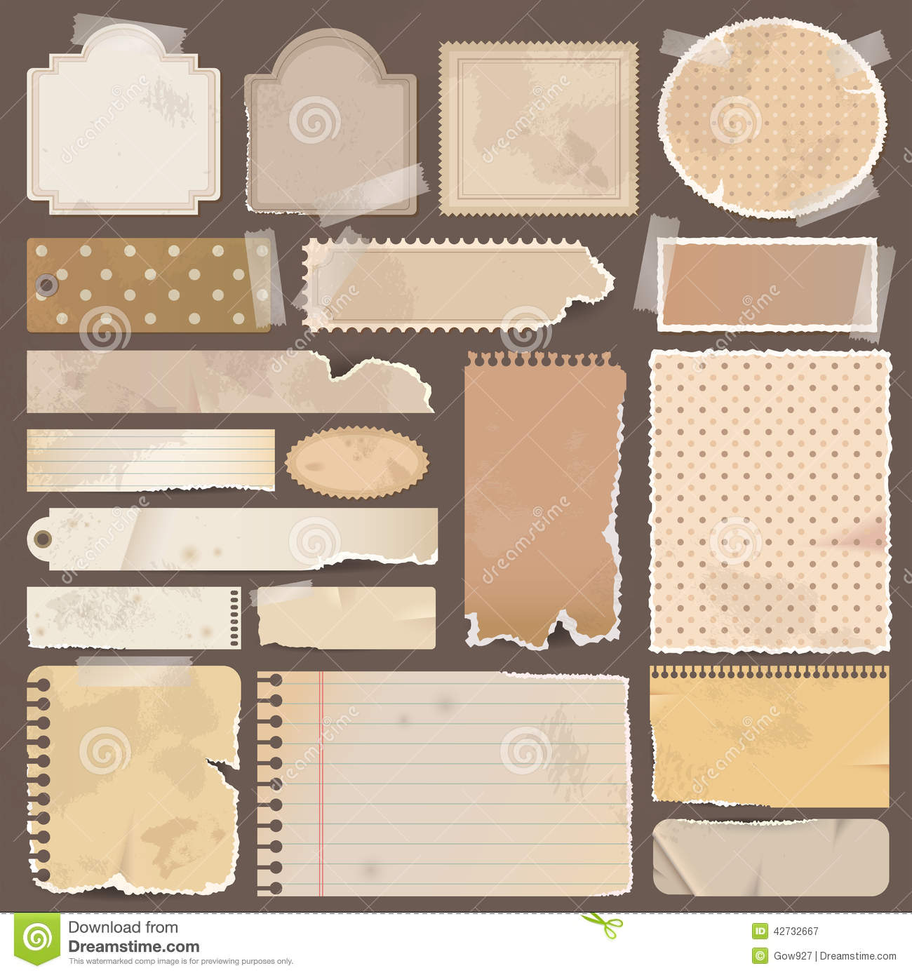 Various old remnant pieces of paper scrapbook an royalty free stock photography