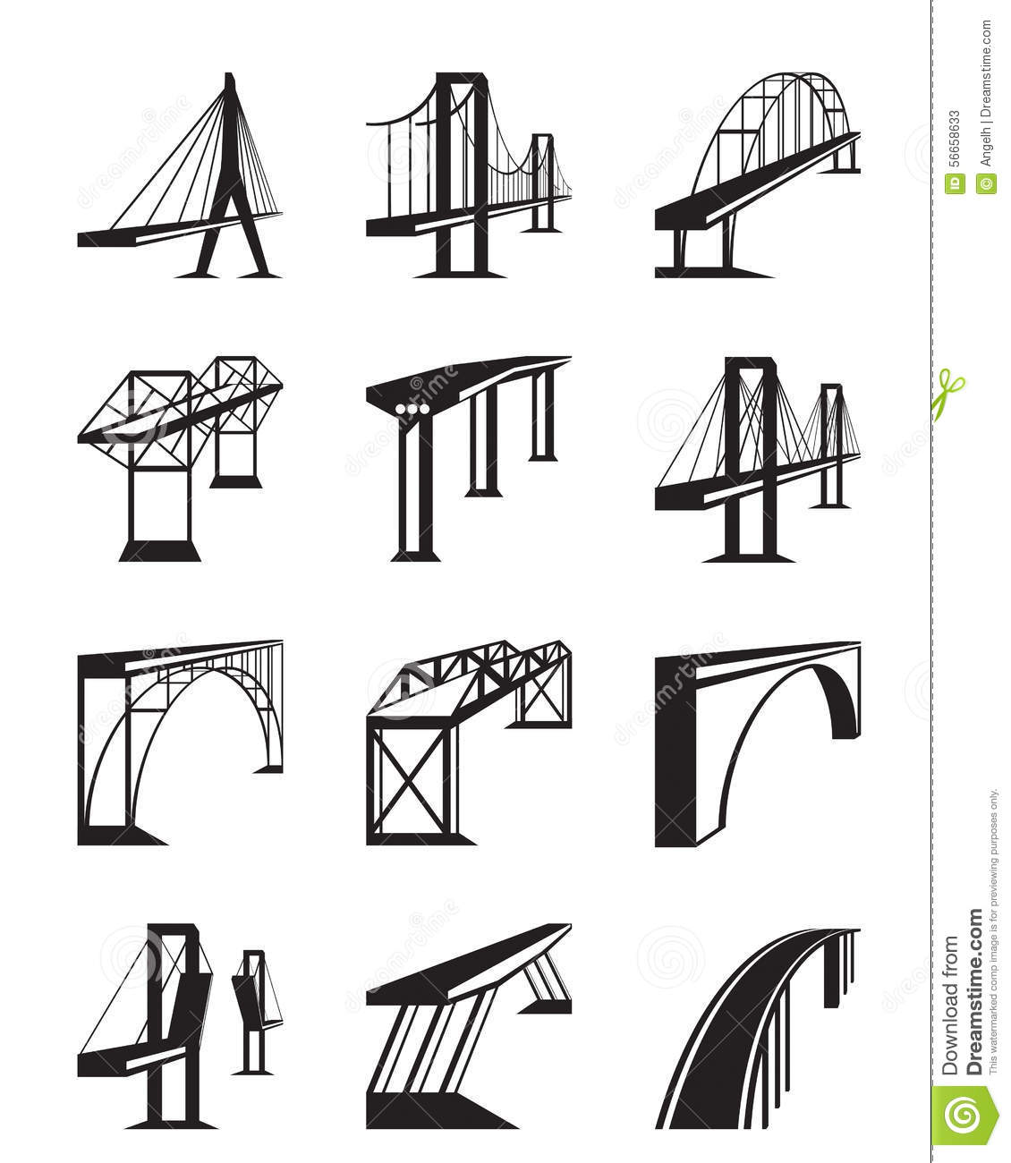 Tipi Bauen Various Types Of Bridges In Perspective Stock Vector