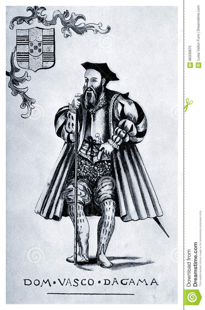And Vasco Da Gama Vasco Da Gama Portrait Stock Illustration Illustration Of