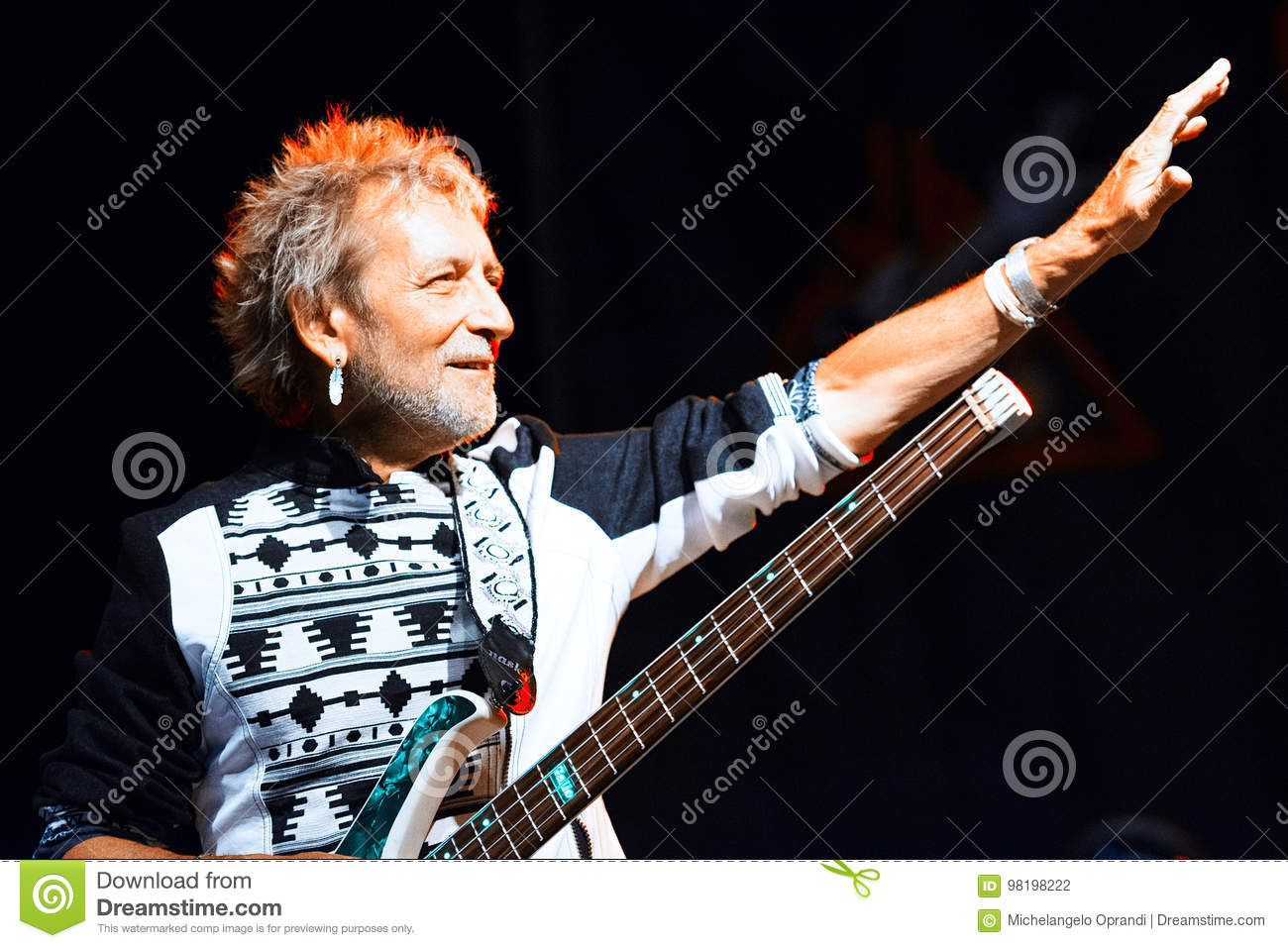 Vasco Rossi 1982 Vasco Rossi Bassist Claudio Golinelli During A Concert Performance