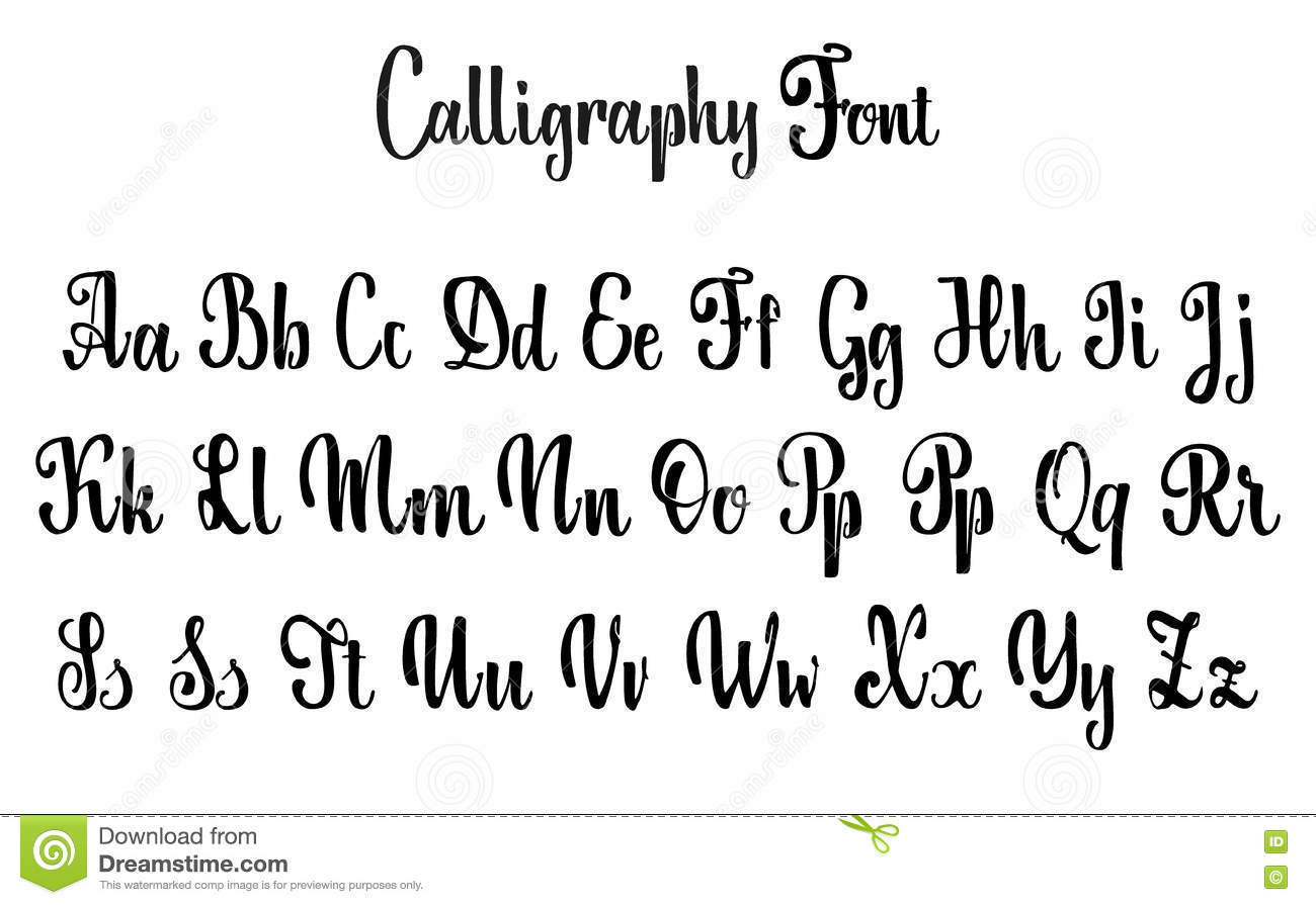 Calligraphy Fonts W Vector Alphabet Calligraphic Font Unique Custom Characters Hand