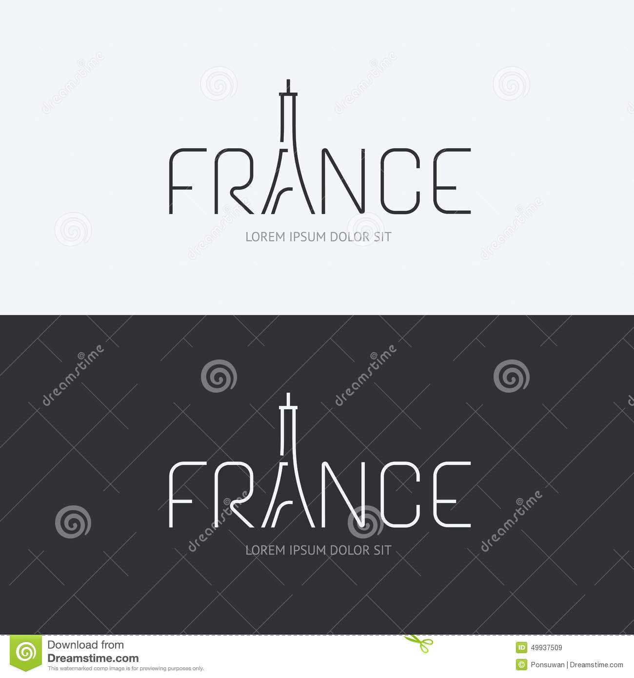 Design France Vector Alphabet France Design Concept With Flat Sign Icon