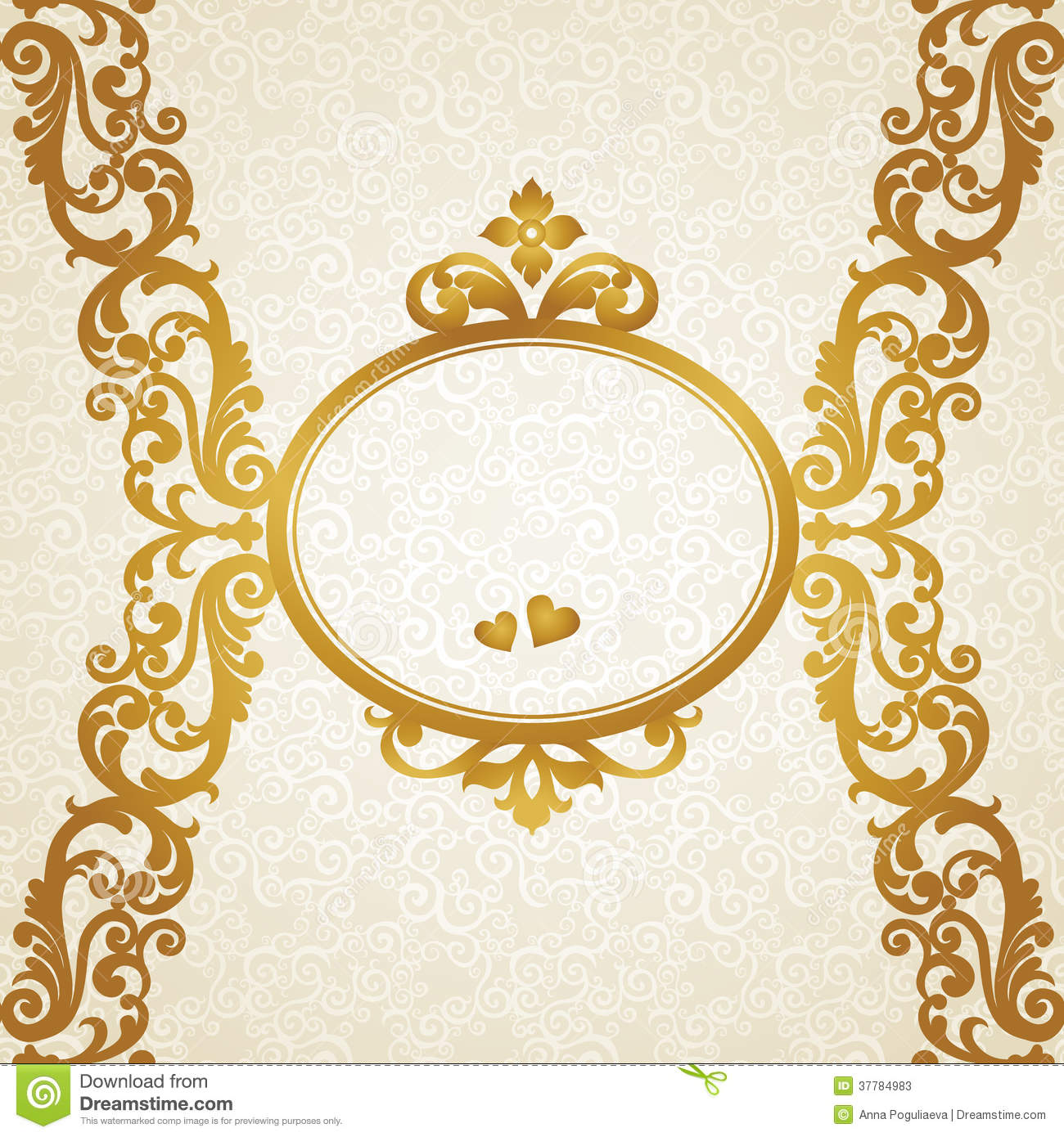 Vector baroque endless border in victorian style stock