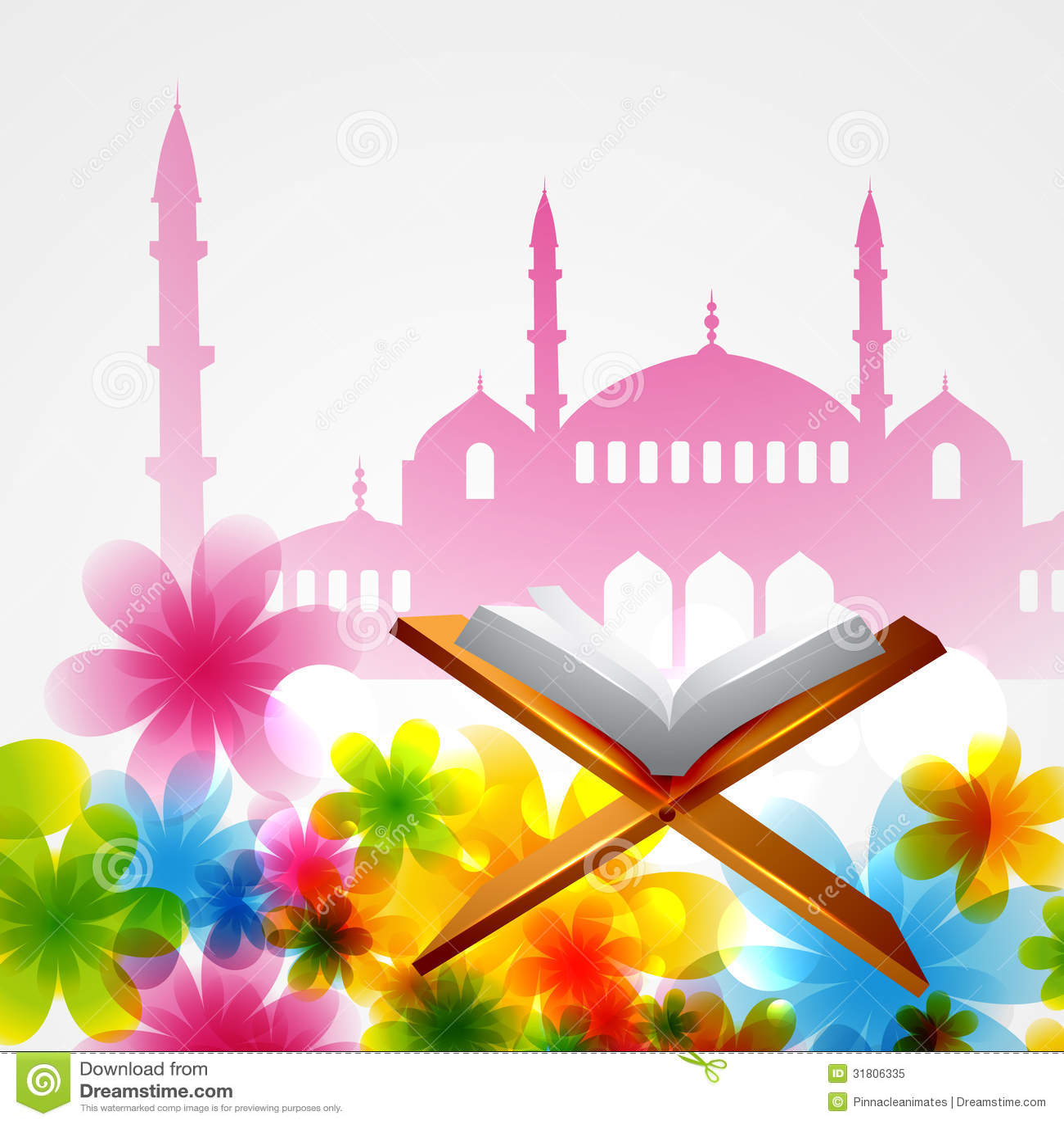 Eid Mubarak Wallpaper 3d Vector Book Of Quran Royalty Free Stock Photo Image