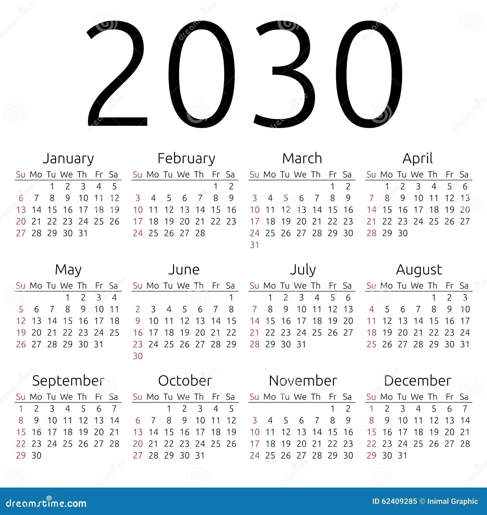 New Calendar Design Free Calendar Miami New Times Vector Calendar 2030 Sunday Stock Vector Image 62409285