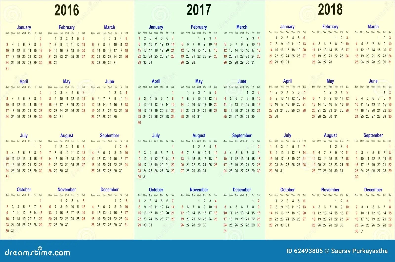 Printable Yearly Mini Calendar Printable 2017 Mini Month Calendar Vector Calender Template 2016 2017 2018 Stock Vector