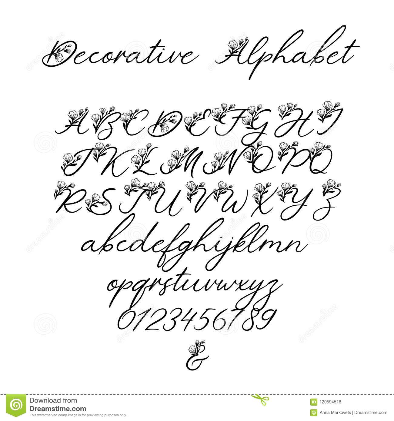 Calligraphy Fonts W Vector Calligraphy Alphabet Floral Letters Decorative
