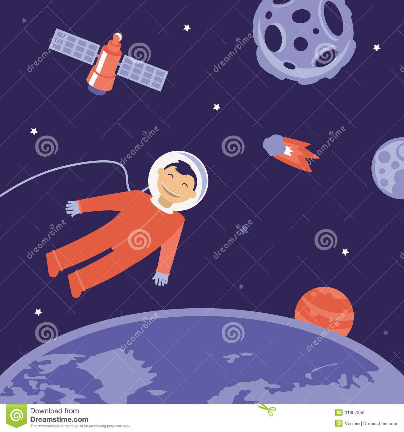 3d Wallpaper Free Download Girl Vector Cartoon Astronaut In Space Royalty Free Stock