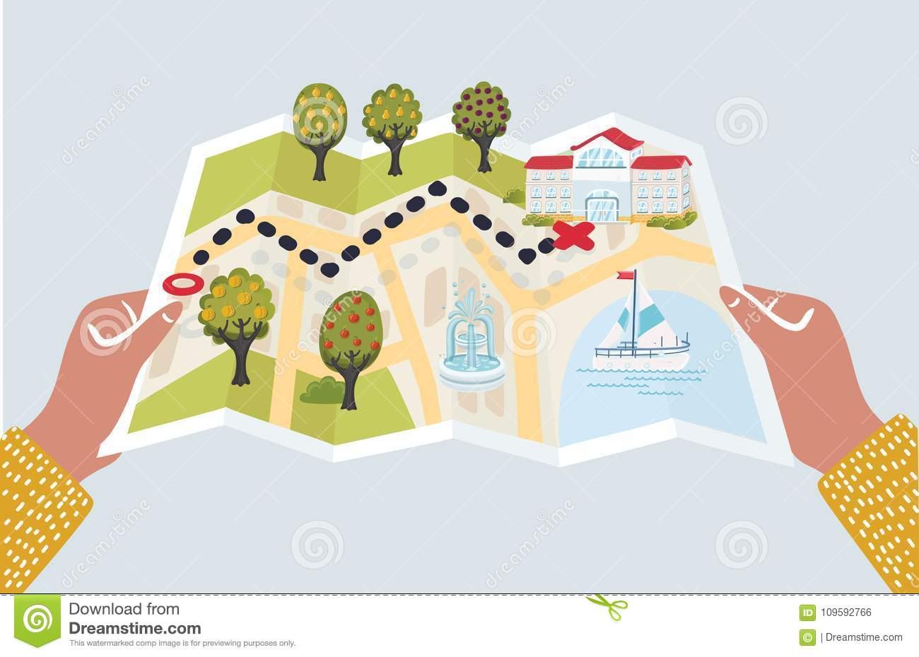Vector Cartoon Illustration Funny Of Paper Map With