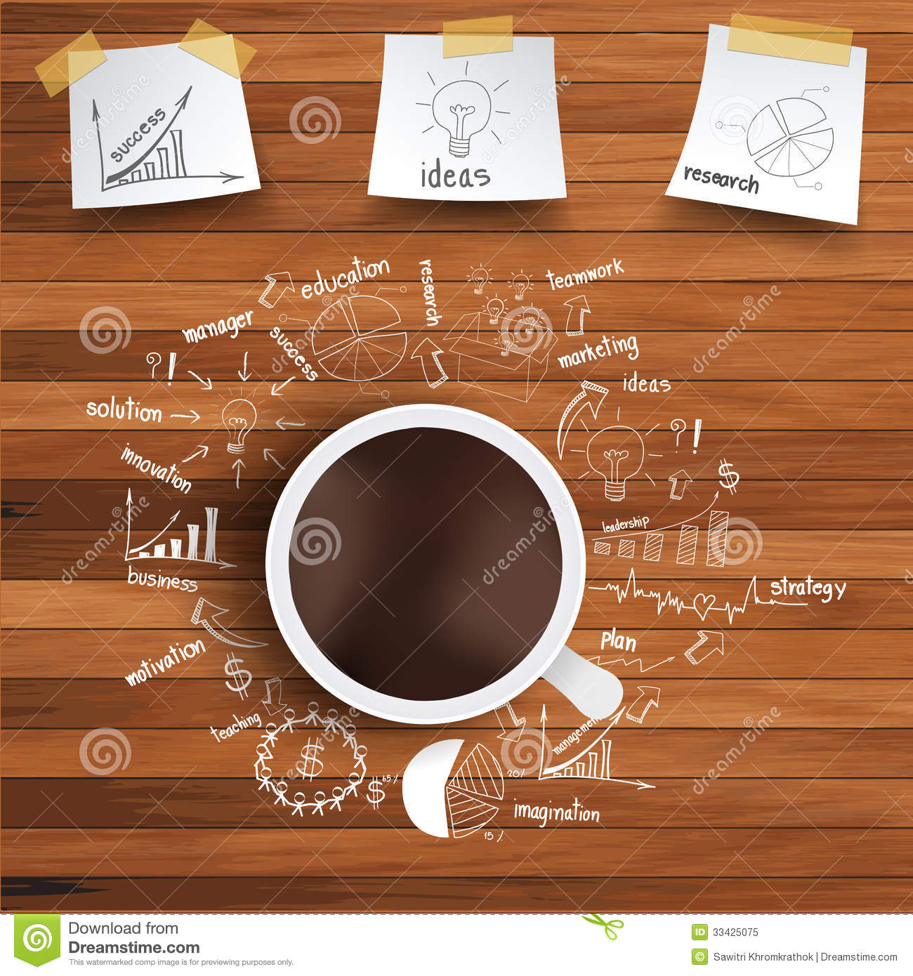 Old Paper Wallpaper Hd Vector Coffee Cup And Business Strategy On Wooden Stock