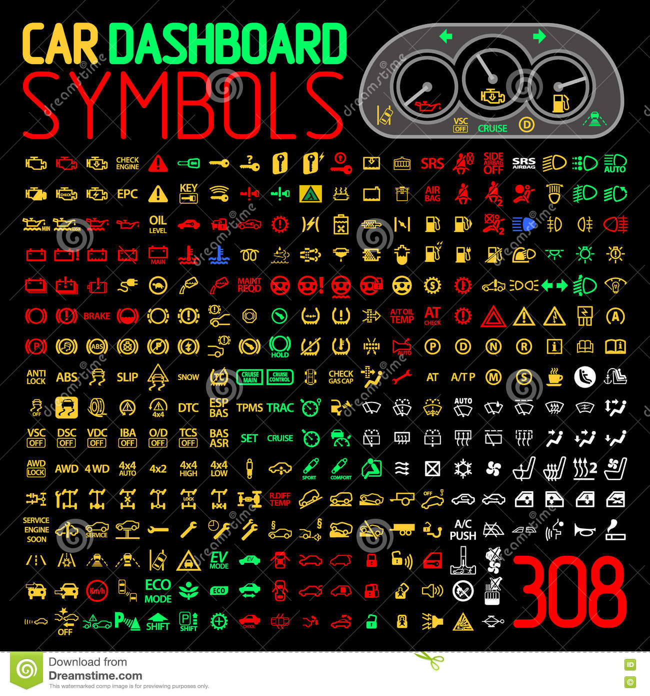 Warning Light Clipart Vector Collection Of Car Dashboard Panel Indicators And Warning