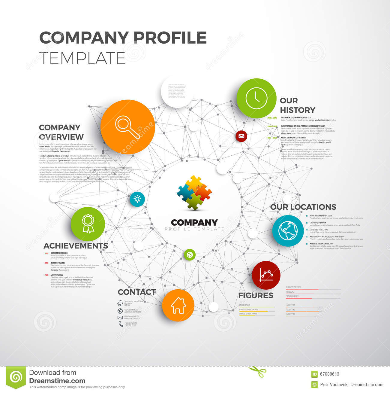 Company Profile Sample Download Free Documents For Pdf Vector Company Infographic Overview Design Template Stock