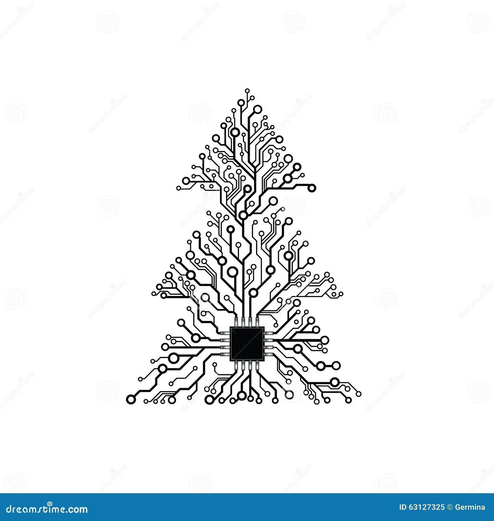 circuit board with christmas tree vector vector christmas