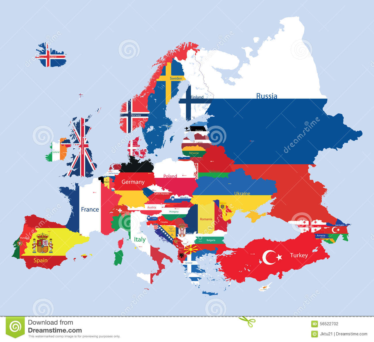 Kare Design Nederland Vector European Map Combined With Flags Stock Vector