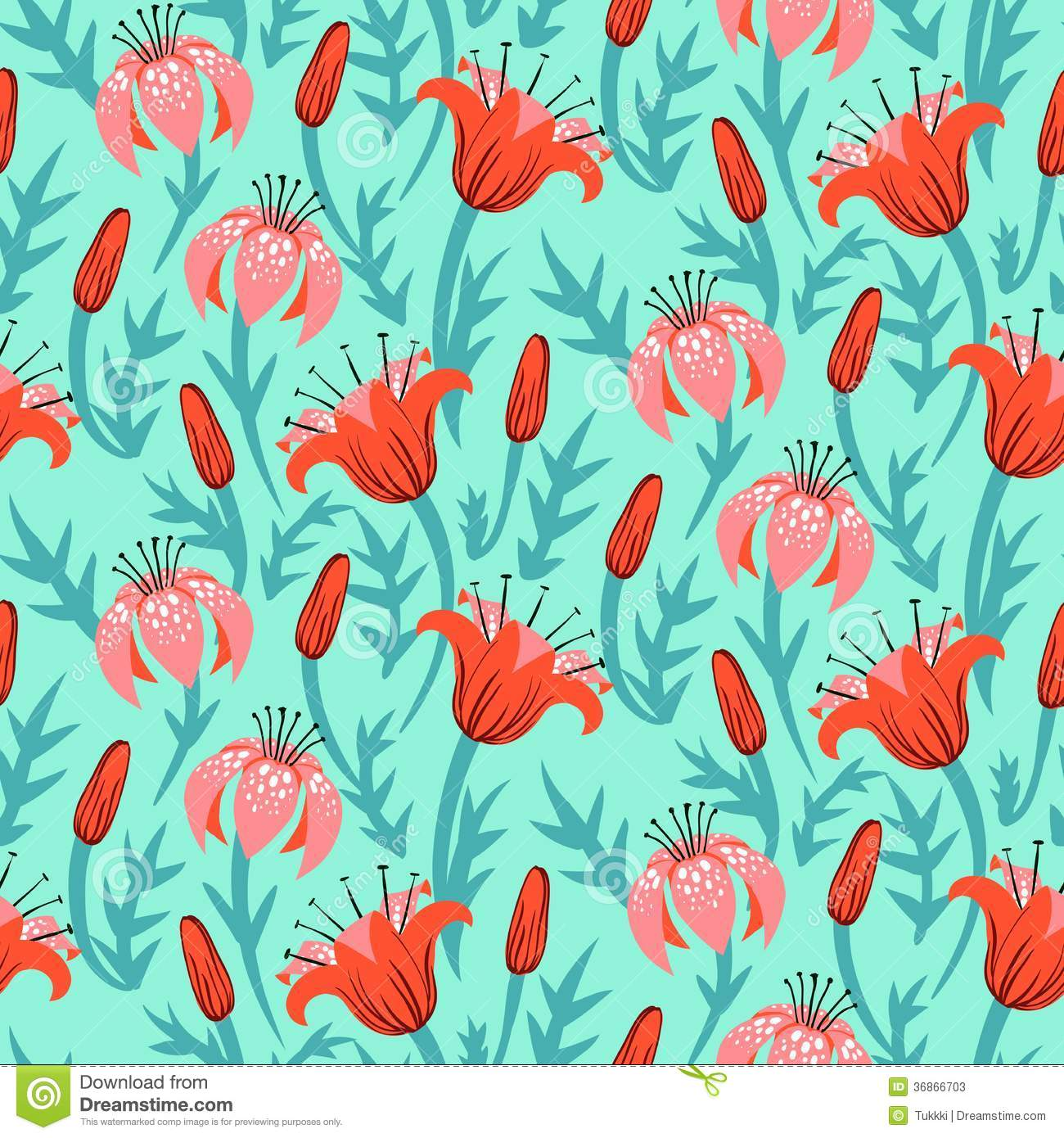 Iphone 5 Wallpaper Floral Vector Floral Pattern With Tulips And Lilies Stock Vector