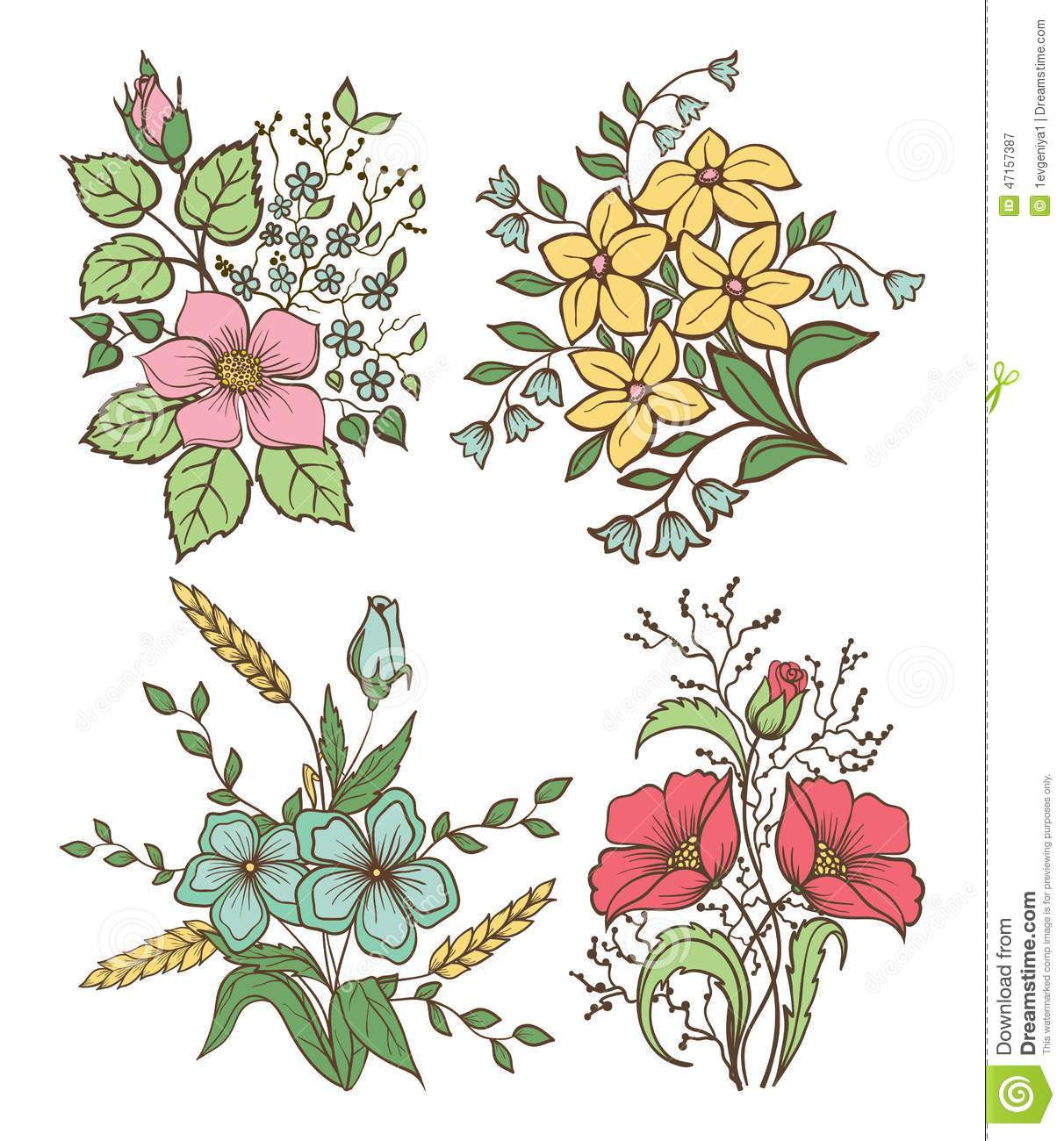 Rustic Fall Wallpaper Vector Flowers Set Colorful Floral Collection With Leaves