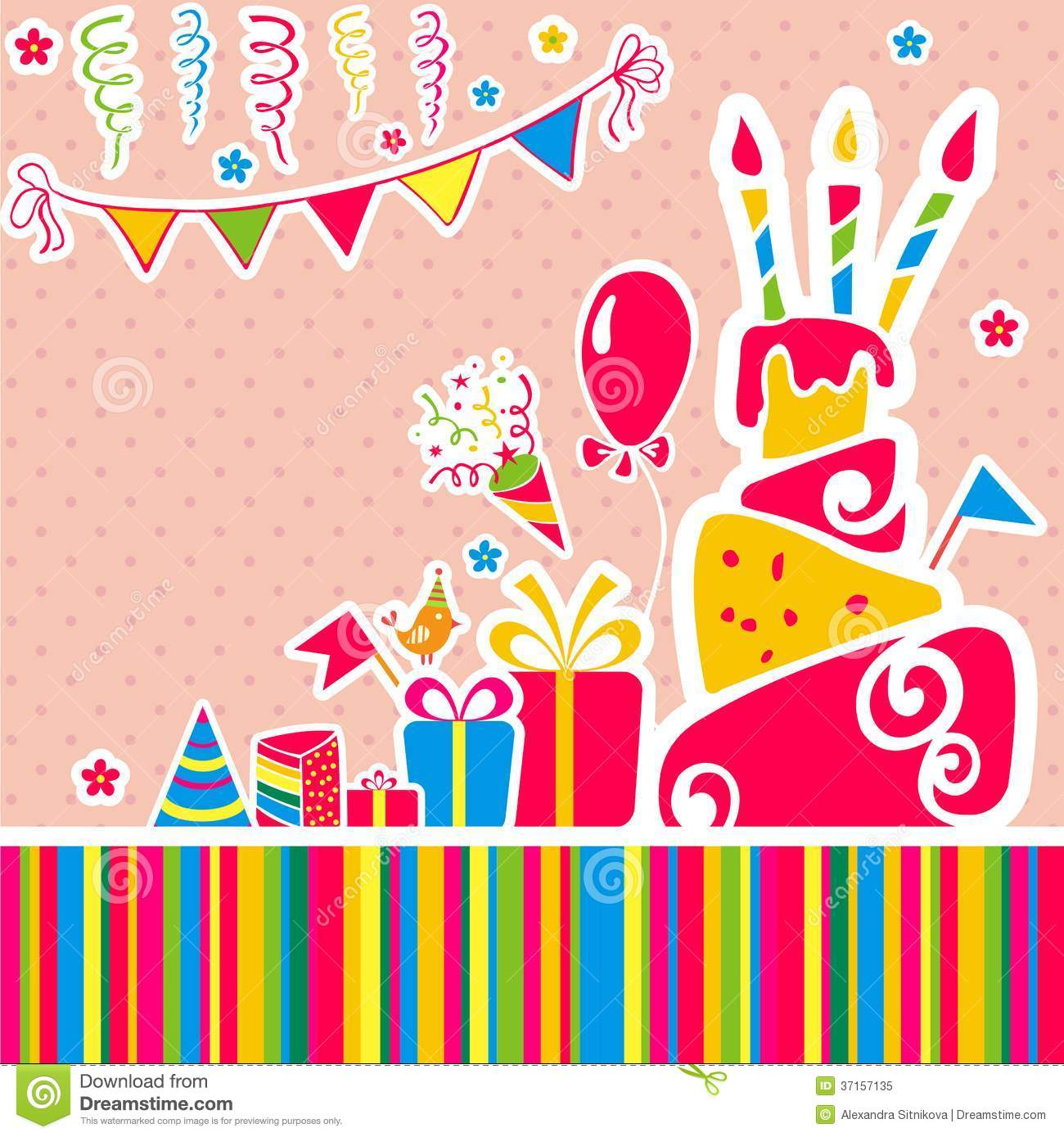 Carte Cadeau Wish Vector Happy Birthday Background Greeting Card Stock