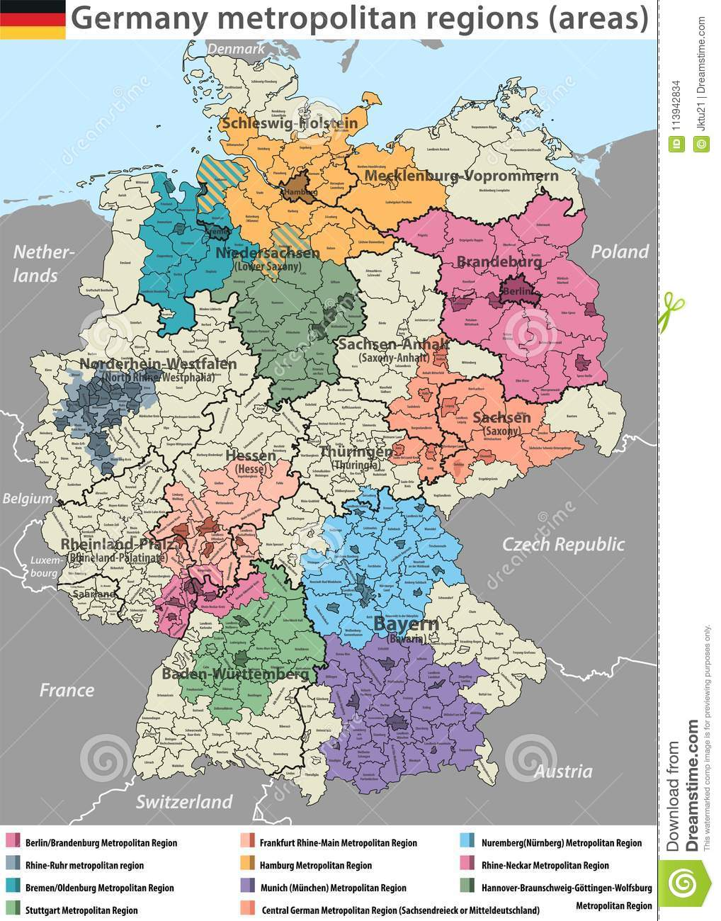 Maps Oldenburg Vector High Detailed Map Of Germany Metropolitan Regions Areas Stock