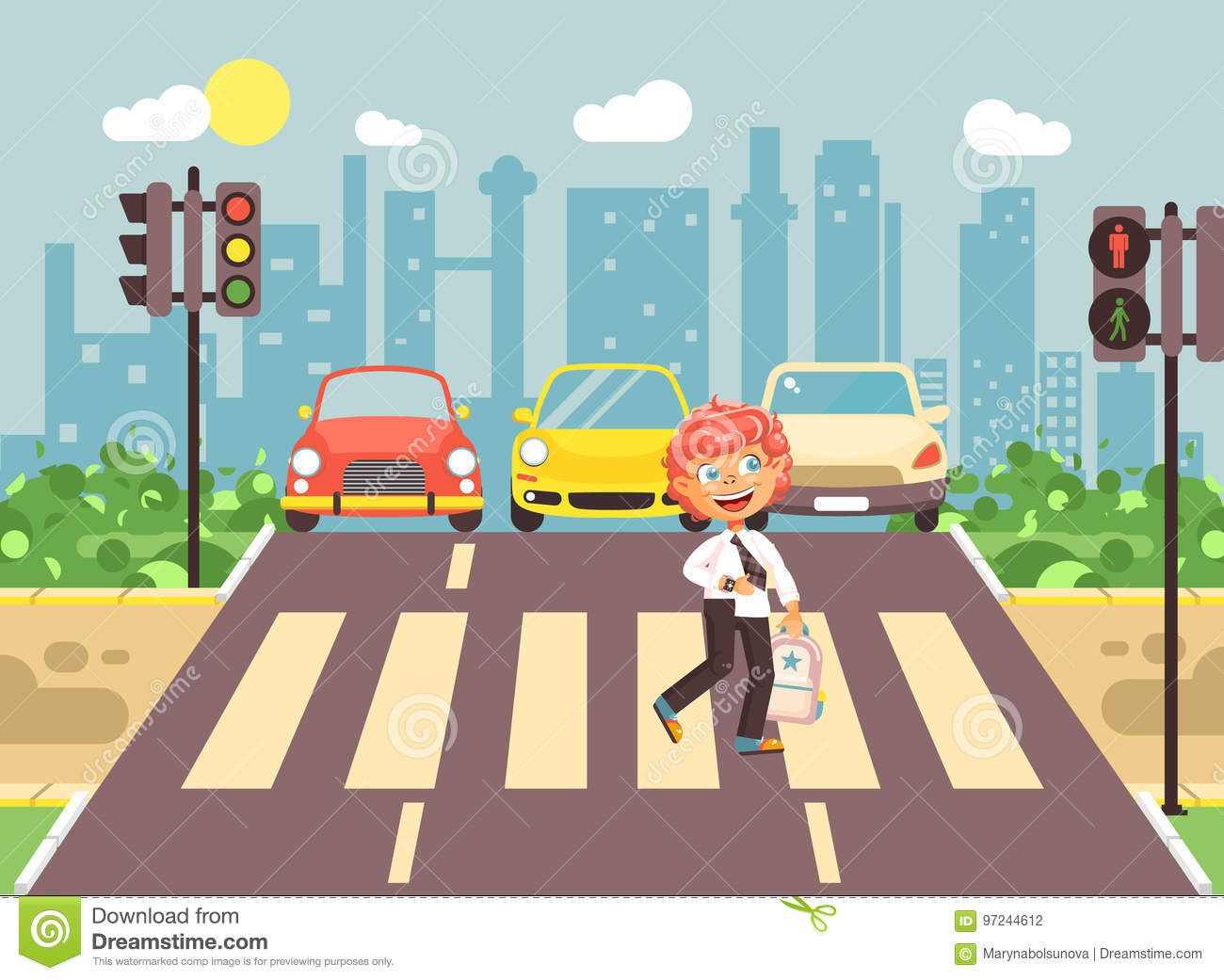 Road Crossing Clipart Vector Illustration Cartoon Character Child Observance