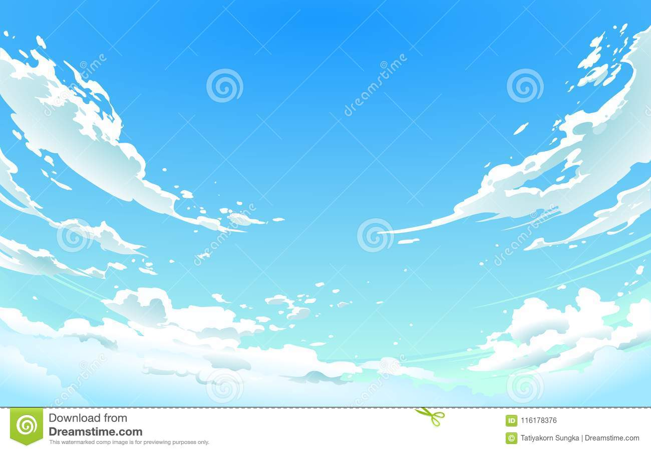 Sky Anime Vector Illustration Of Cloudy Sky In Anime Style Stock
