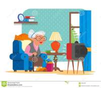 Vector Illustration Of Grandmother Sitting In Armchair And ...