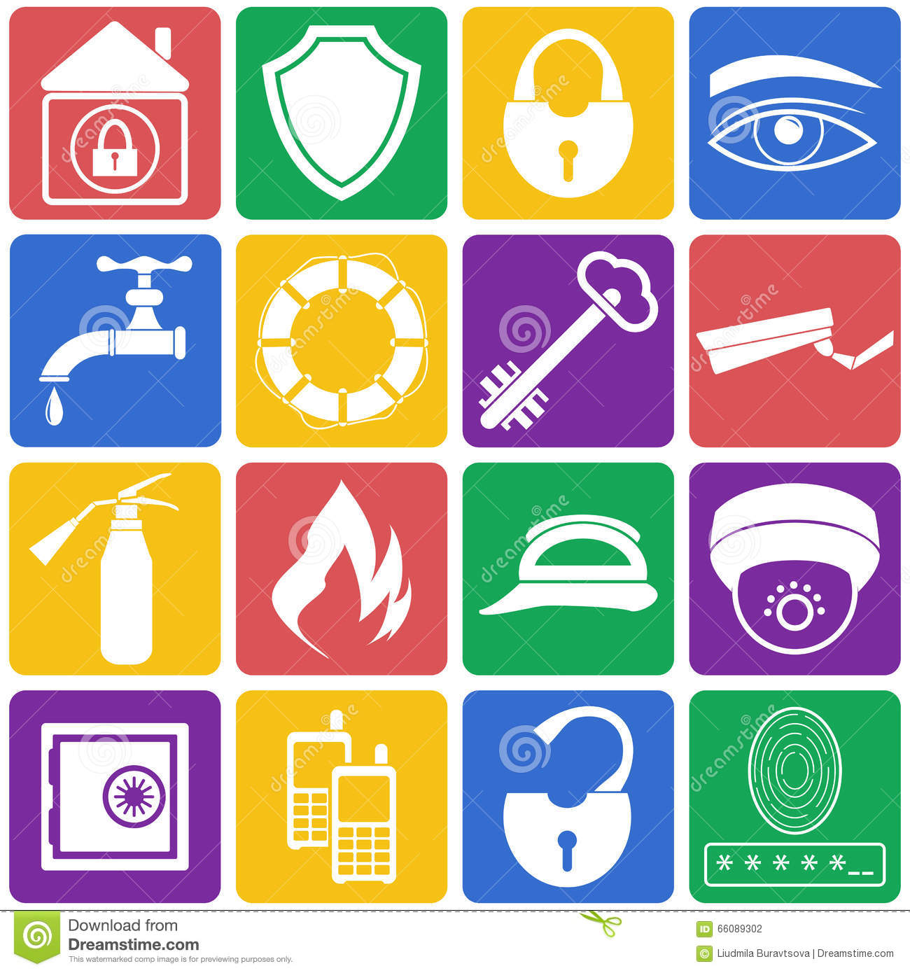 Venta De Sistemas De Seguridad Para El Hogar Lifebuoy And Safety Shield Set Icons Vector Illustration