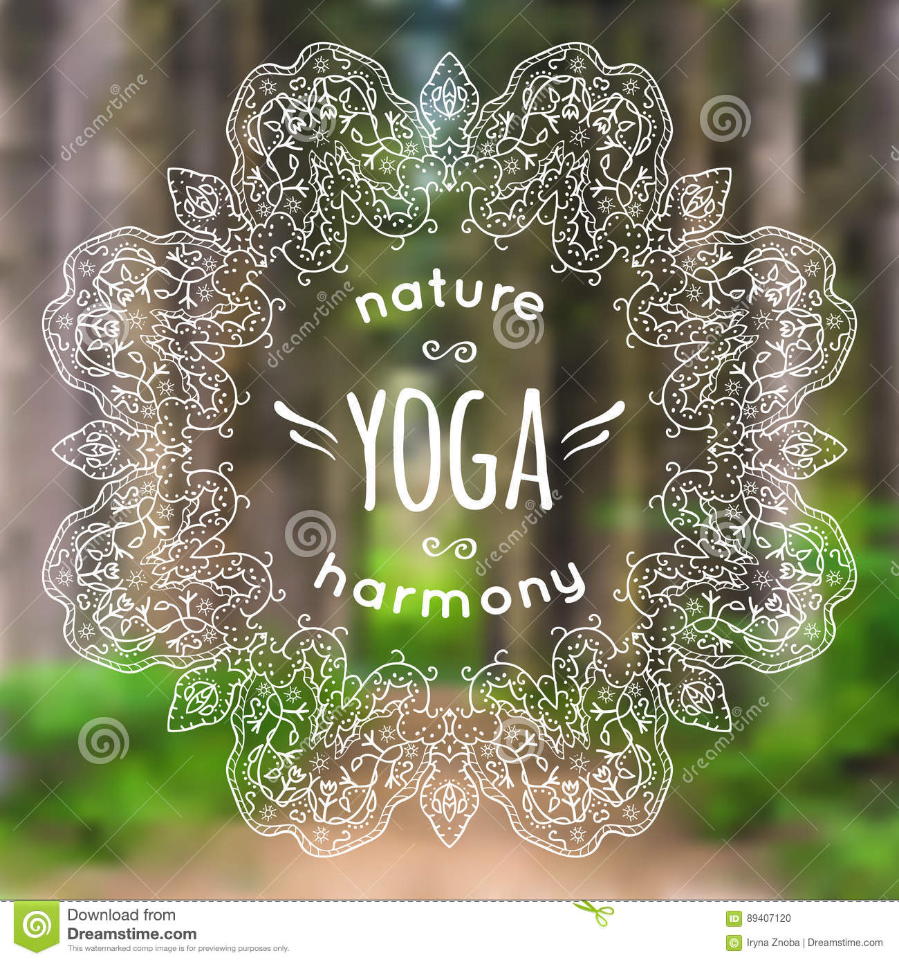 Wandposter Natur Vector Illustration With Mandala And Yoga Label On Blurred Nature