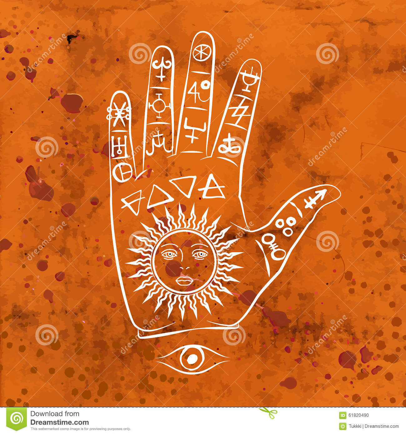 Symbol Sonne Bedeutung Vector Illustration Of Open Hand With Sun Tattoo Stock