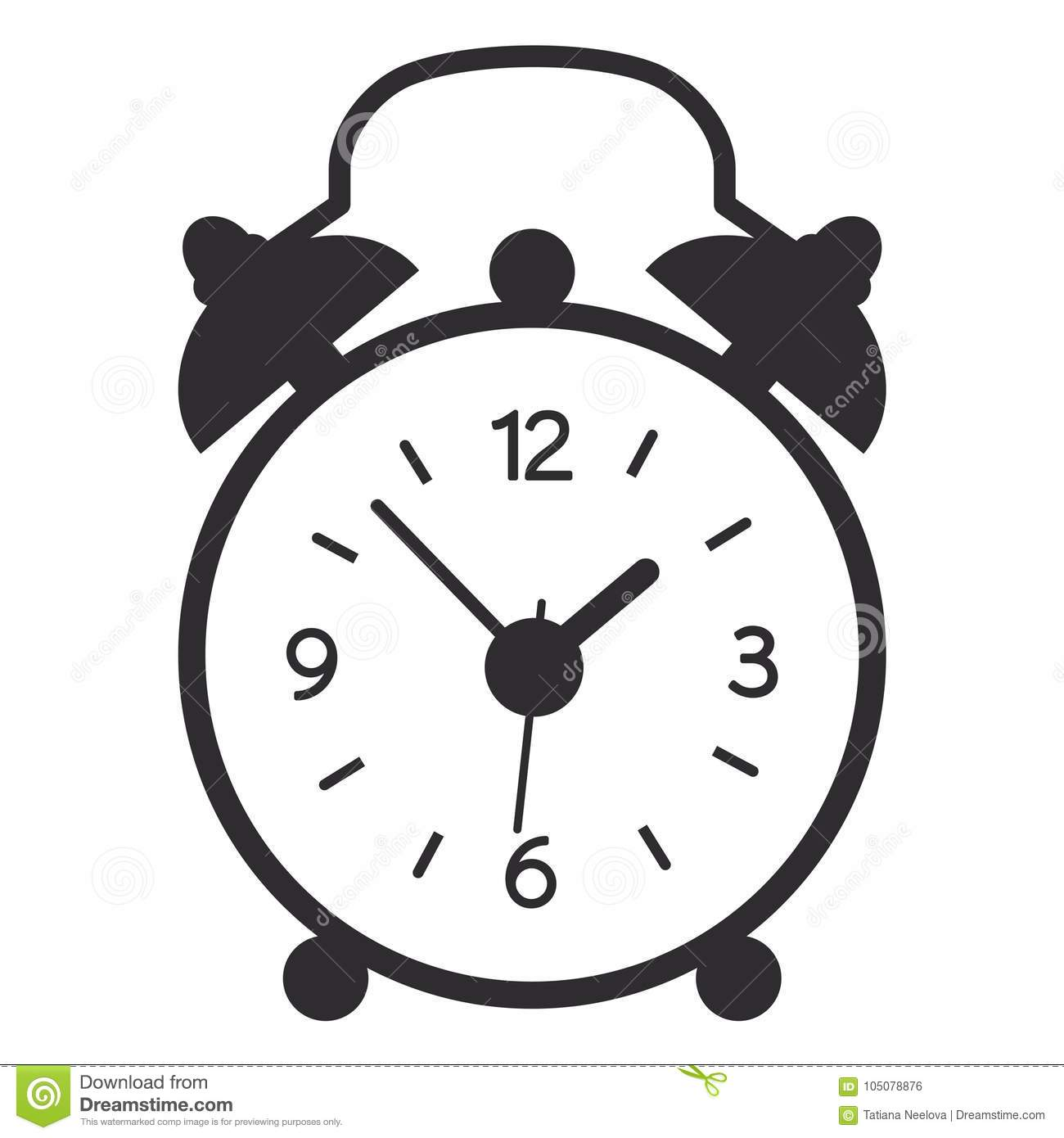 Simple Modern Alarm Clock A Vector Illustration Of Simple Black Alarm Clock Isolated On