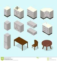 Vector Isometric Kitchen Furniture Set Stock Vector ...