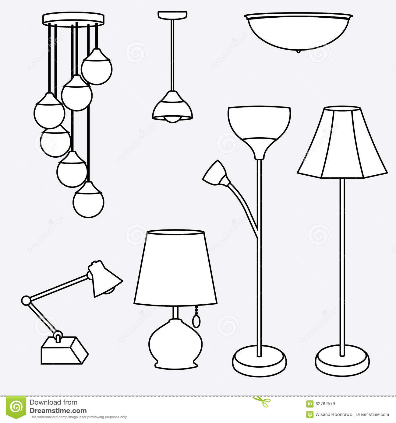 Tipos De Lamparas Incandescentes Vector Of Lamp Collection Types Of Lighting Stock