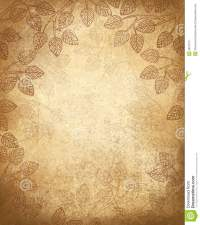 Vector Leaves Pattern On Old Paper Background. Stock Image ...