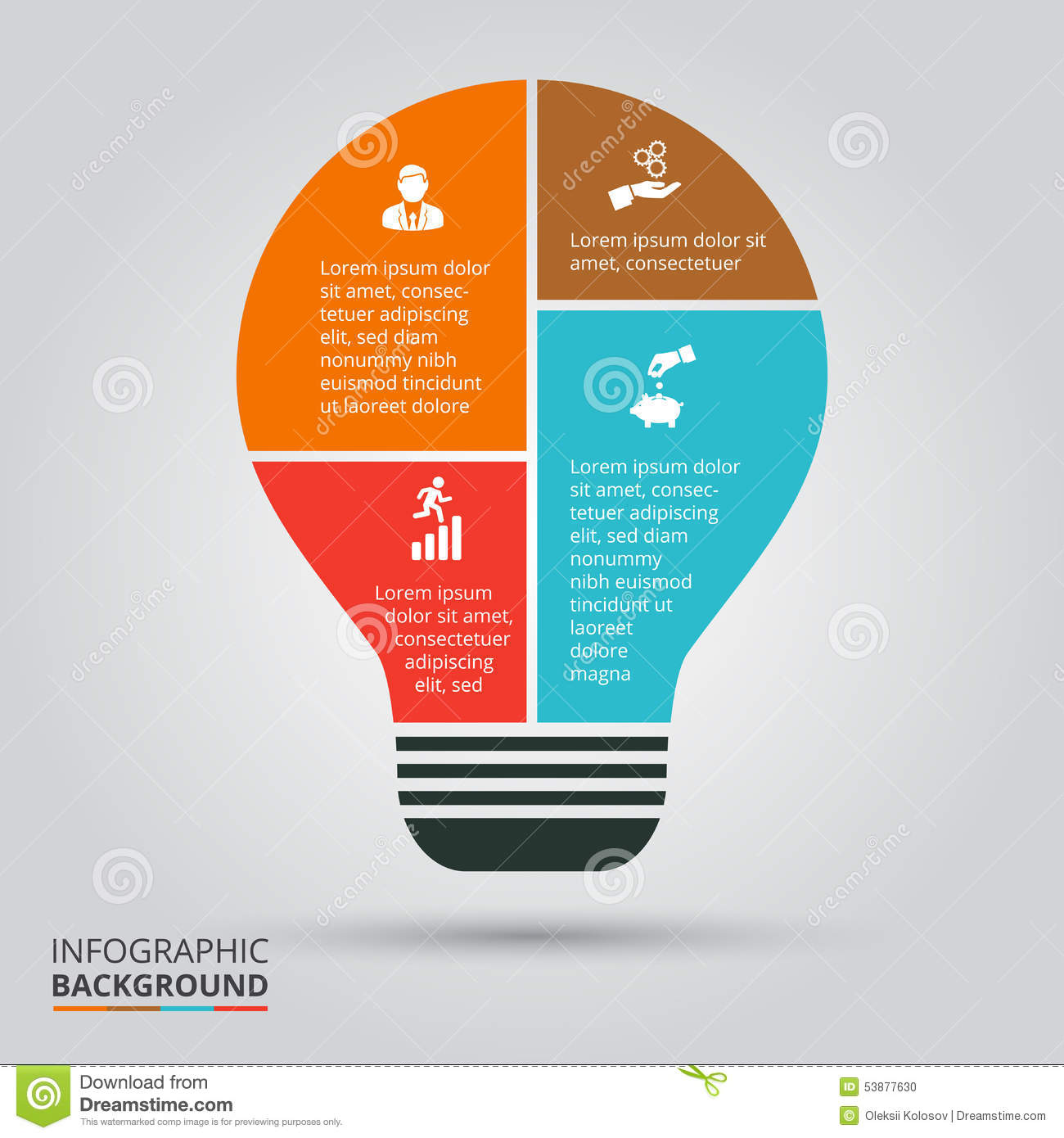 Fluorescent Lamp Vector Light Bulb For Infographic. Stock Vector - Image