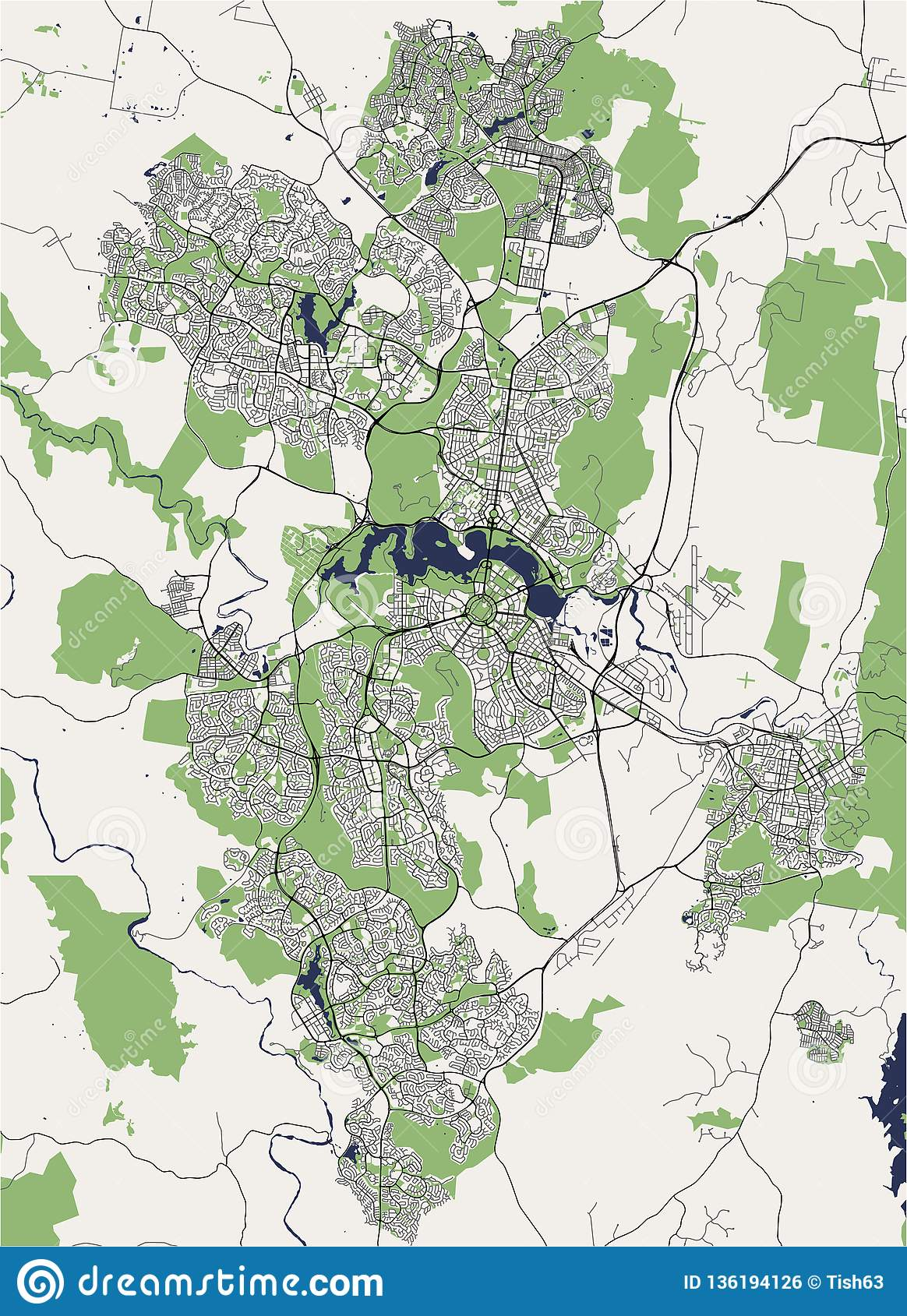 Map Of Canberra Map Of The City Of Canberra Australian Capital Territory